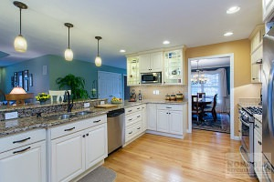 White Cherry Kitchen with dining area