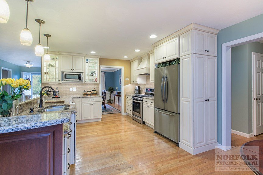 Kitchen Remodel Nashua With Linen Cabinets And Custom Bench