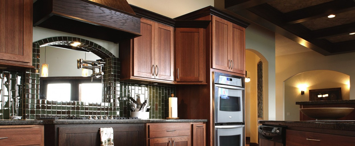 Best Kitchen Cabinets U2013 Showplace. Flat Panel Door In Medium Wood Stain  Finish ...