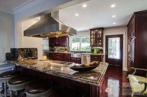 Cherry kitchen with Island cooktop