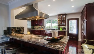 Classic Cherry Kitchen with Stainless farmers sink