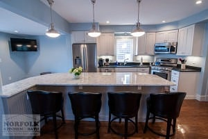 White kitchen with island seating for four
