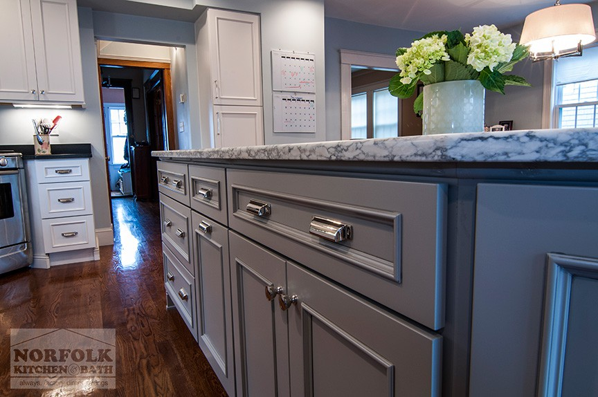 Custom white kitchen with gray island for White kitchen gray island