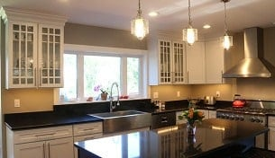 White Kitchen with Cherry Island - New-construction