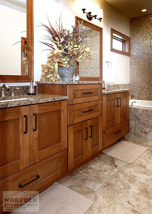 Showplace Bath Vanities In Various Medium Tones And Finishes