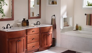 Bertch Bath in Medium toned Wood Finishes