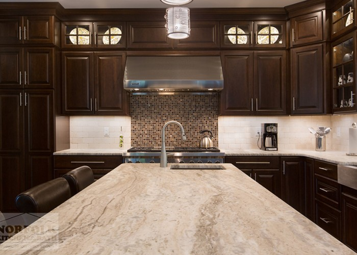 Cherry cabinetry with granite island