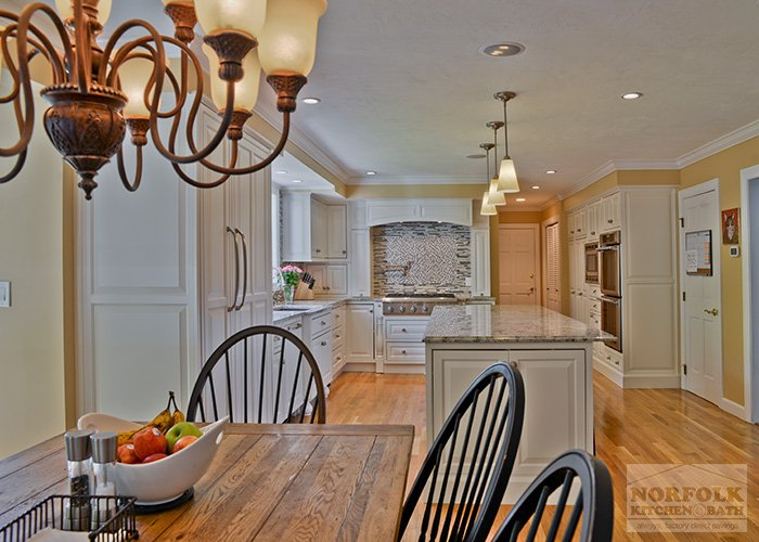 White Kitchen with Island and dining area