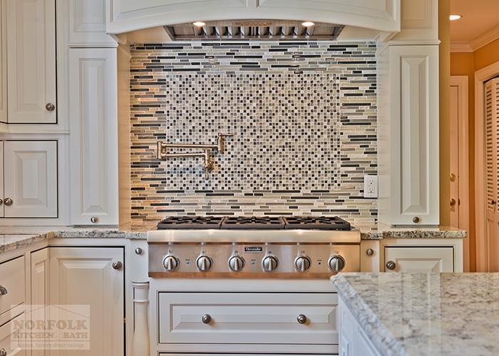 Stove and Hood with Mosaic Tile Backsplash