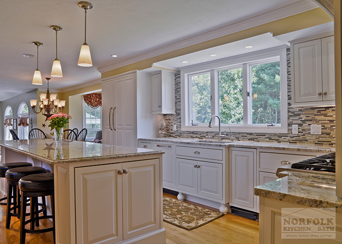 White Kitchen with Island seating