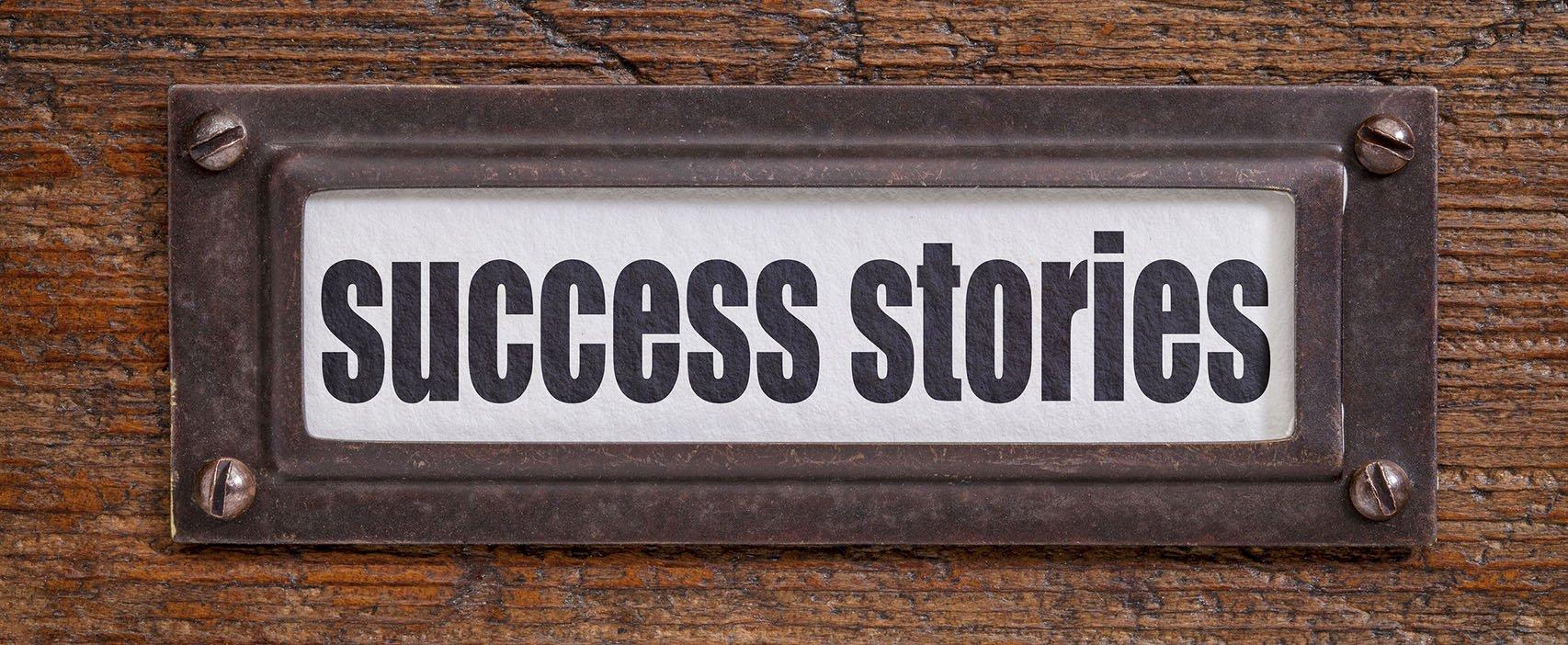 """plaque that reads """"success stories"""""""