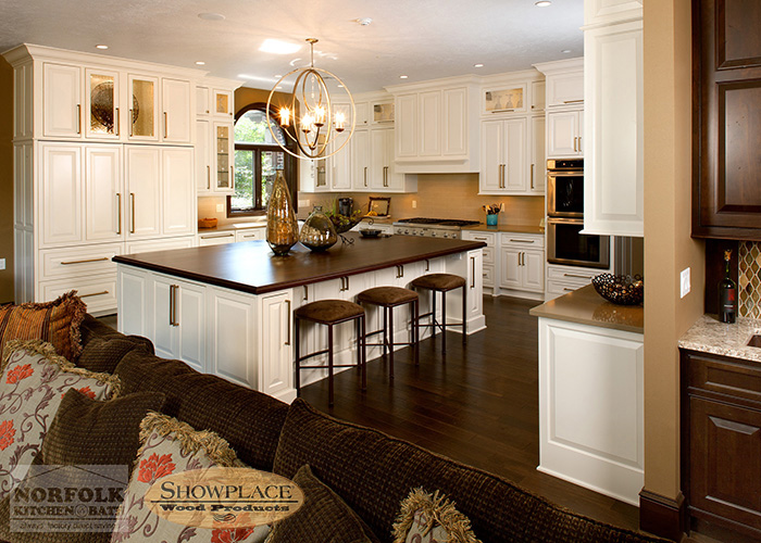 Showplace Painted White Kitchen with large island
