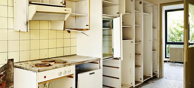 empty kitchen cabinets