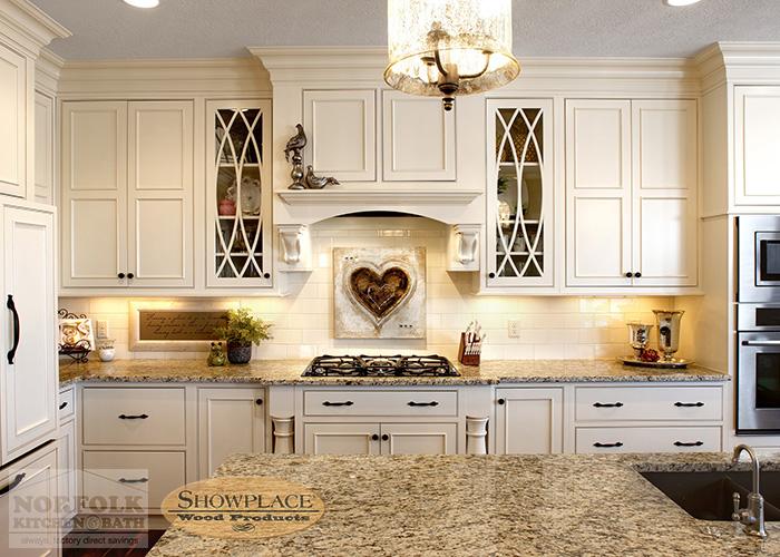 Showplace Painted White inset cabinets with white tile backsplash