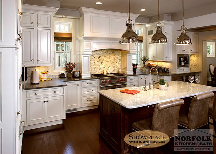 Showplace Painted White inset cabinets with island