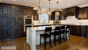 Greywash cherry kitchen with custom design features