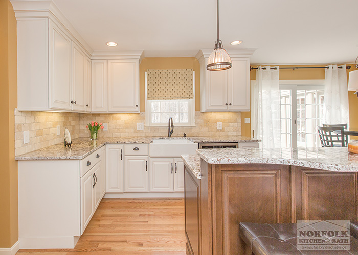 Bedford Nh Kitchen White Cabinets With Maple Island