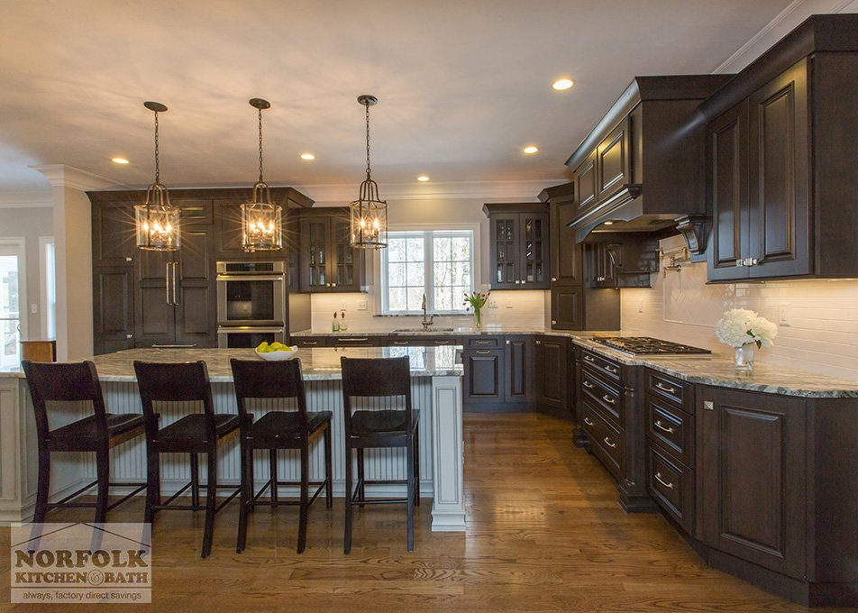 Showplace Cherry Kitchen With Island and seating