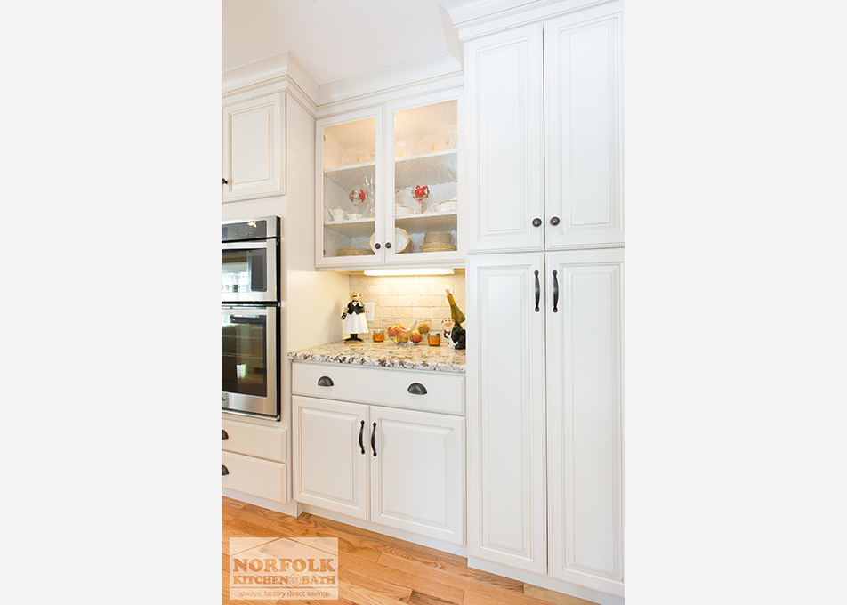 Bedford NH kitchen - white cabinets with maple island
