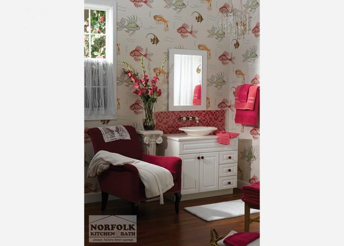 All white vanity with pink backsplash