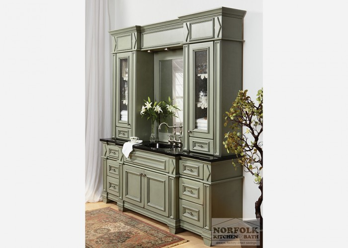 Large Green Vanity set with bumpout