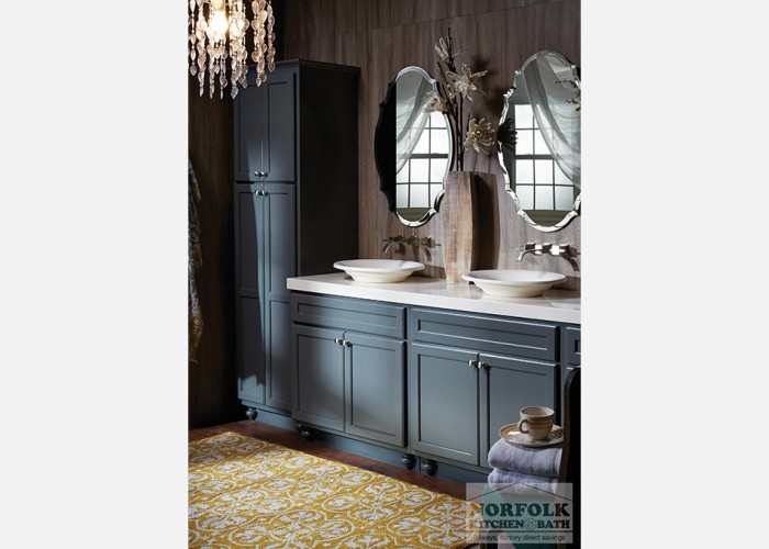 double vanity with tall cabinet