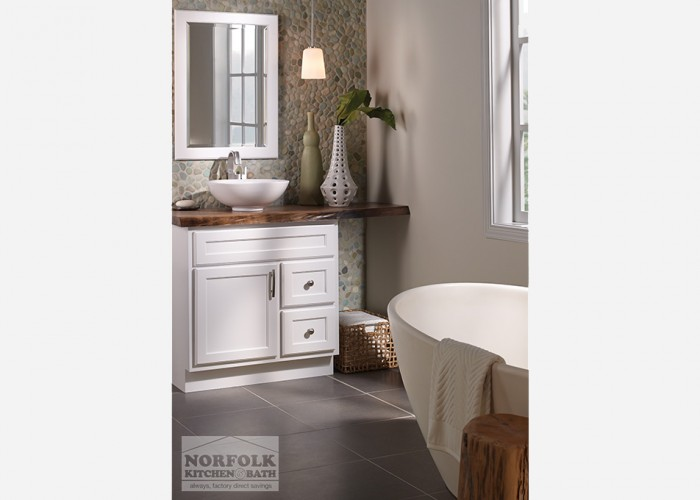 white vanity with top into wall