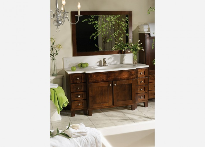 8-drawer dark wood vanity with bumpout