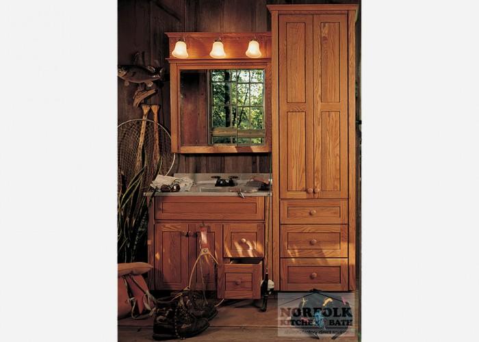 Medium Woodtone Vanity with a 3-light bar