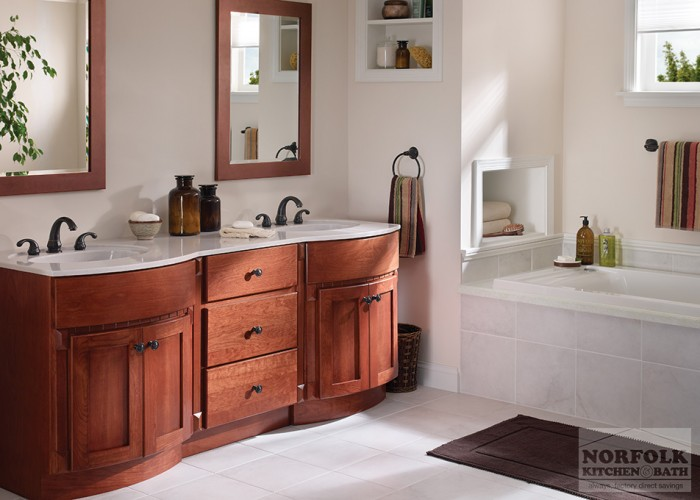 Double vanity with Curved bumpouts
