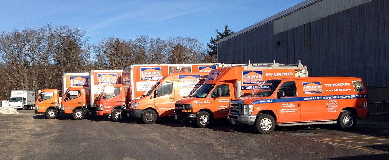 Norfolk Kitchen & Bath Fleet of trucks