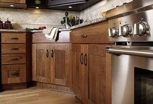 cherry shaker door cabinets showing base cabinets