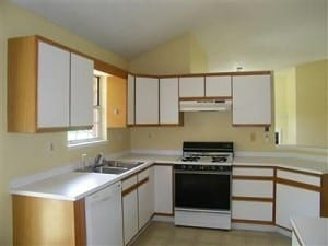 80's kitchen with white laminate doors and postform tops