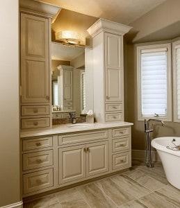 A bath vanity newly installed