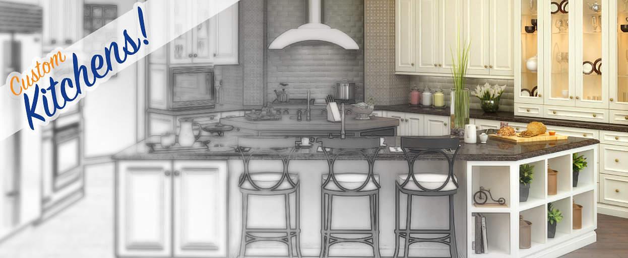 Custom kitchen cabinets, countertops and backsplash