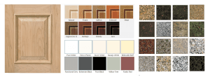 cabinet door and granite samples