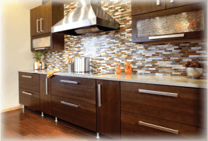dark contemporary cabinets with multi color tile
