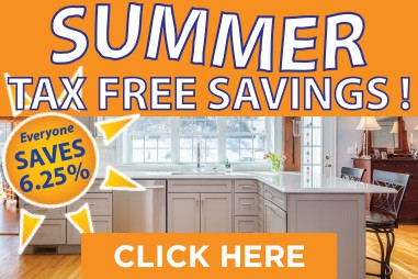 Tax free summer savings on kitchen cabinets and countertops