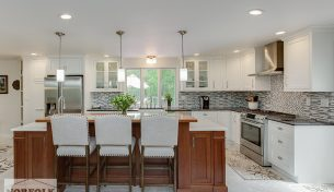 Gorgeous White Kitchen with a Cherry Breakfast Bar