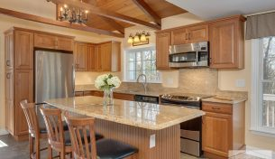 Traditional Cherry Kitchen With Exposed Beams