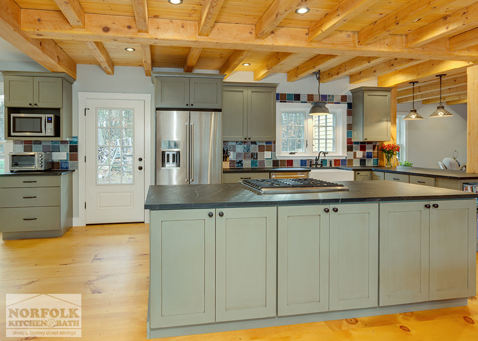 Rustic Green Kitchen With Soapstone, Rustic Green Kitchen Cabinets