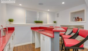 Unique Red Bartop With Echelon Cabinetry