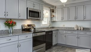Transitional Gray Kitchen in Hudson, NH