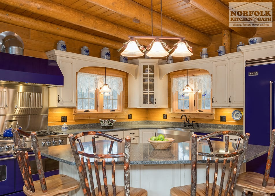 Log Cabin Kitchen With Blue Appliances | Norfolk Kitchen & Bath