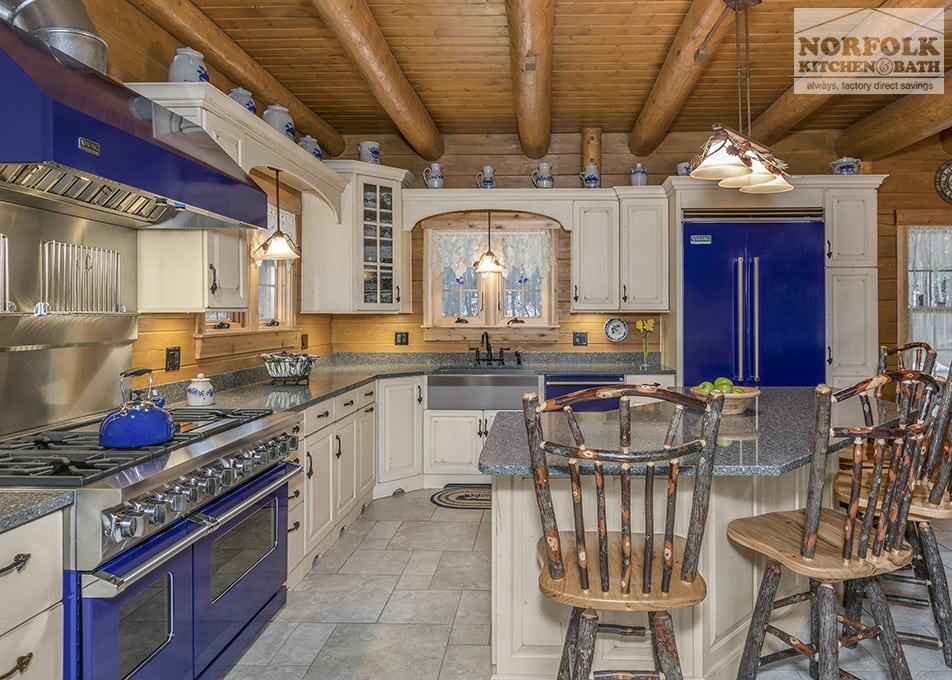 Log cabin kitchen with blue appliances norfolk kitchen for Log cabin kitchens and baths