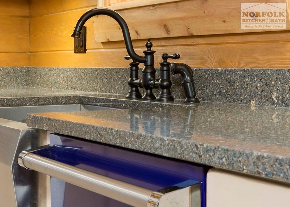 log cabin kitchen with blue appliances. Black Bedroom Furniture Sets. Home Design Ideas