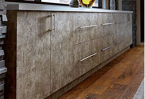 Modern Base Cabinets with mottled laminate brown color slab door