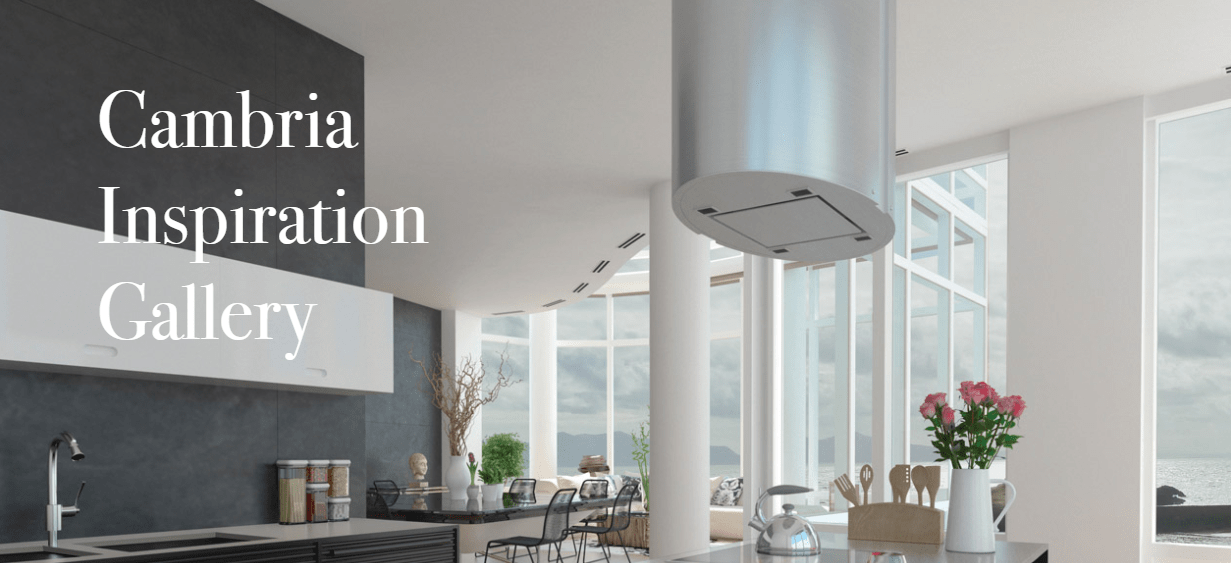"a large, open kitchen with a text overlay that reads ""Cambria Inspiration Gallery"""