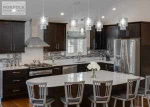 Custom shaped kitchen island with seating