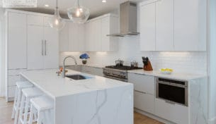 White Contemporary Kitchen In Boston, MA